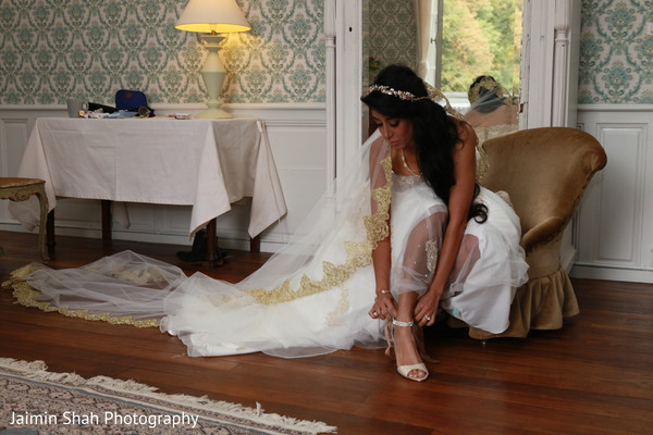 getting ready,white wedding dress,indian bride,bridal shoes