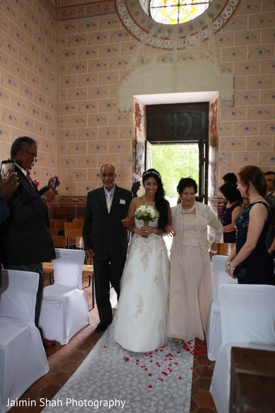 indian bride,white wedding dress,wedding ceremony