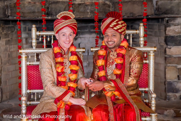 red turban,wedding rings,same sex fusion wedding,indian wedding