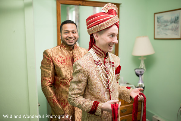 same sex fusion wedding,gay wedding,red turban,indian groom fashion