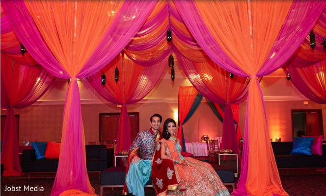 indian bride and groom portrait,indian wedding reception decor