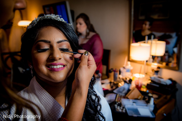 indian bride hair and makeup,getting ready,indian bride makeup