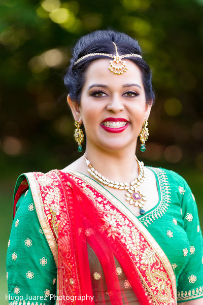 Bridal portrait in Pearl River, NY Indian Wedding by Hugo Juarez Photography