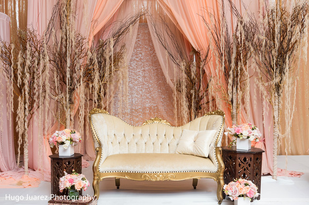 indian wedding reception,reception portraits,reception details,indian reception details,floral details,floral design,candles,reception candles,reception decor,reception design,reception stage,sweetheart seating