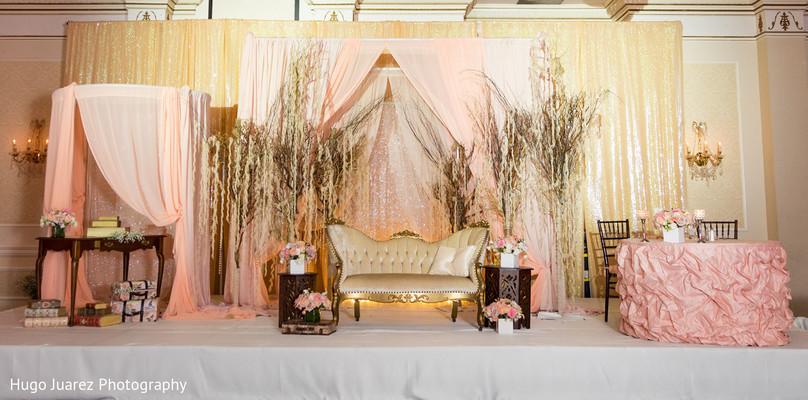 Reception Sweetheart Stage in Pearl River, NY Indian Wedding by Hugo Juarez Photography