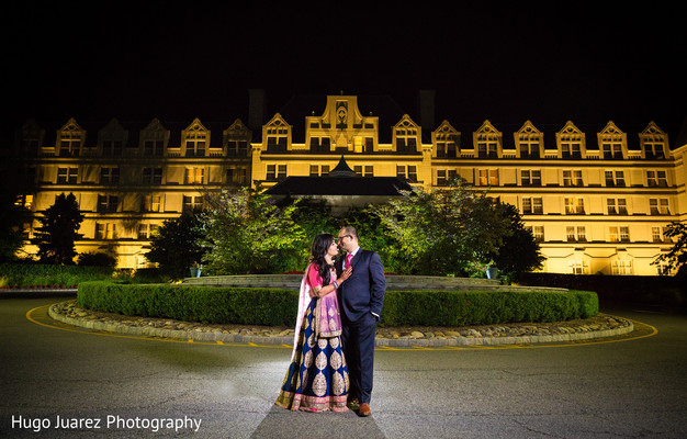 Reception Outdoor Portrait in Pearl River, NY Indian Wedding by Hugo Juarez Photography