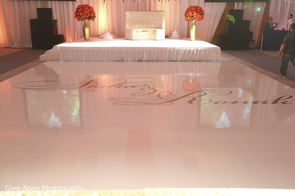indian wedding reception,monogramed dance floor.indian wedding reception decor