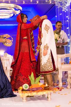 indian wedding ceremony,jaimala,indian wedding floral and decor