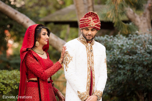 "Heartwarming ""first look moment"". in Atlanta, Georgia Indian Wedding by Elevate Creations"