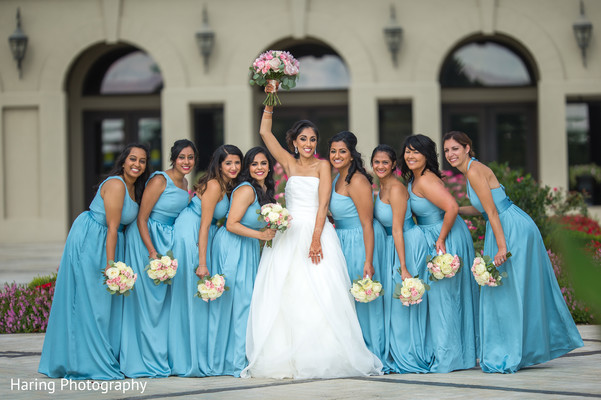white wedding dress,indian bridal bouquet,indian bridesmaids' fashion