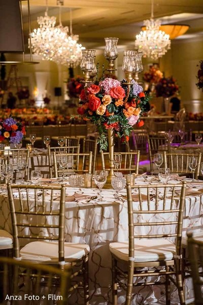 indian wedding reception,table centerpieces,floral and decor
