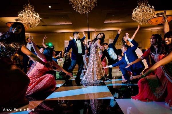 indian wedding reception,indian bride,indian groom,choreography,dj