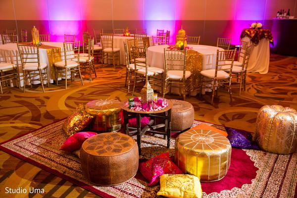Moroccan inspired sangeet decor.