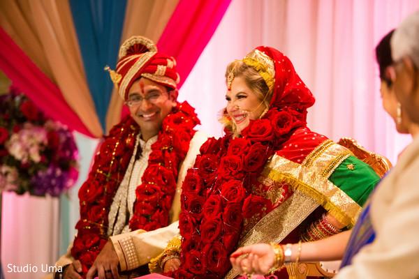 indian wedding ceremony,indian bride,indian groom,garlands