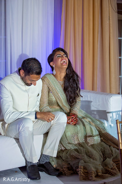 Indian bride and groom having a blast at their wedding reception in Lake Lanier, Georgia Indian Wedding by RAG Artistry