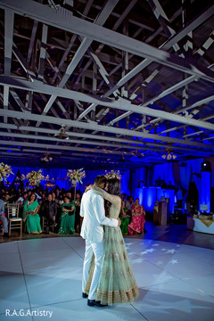 indian wedding reception,dj and entertainment,monogramed dance floor.