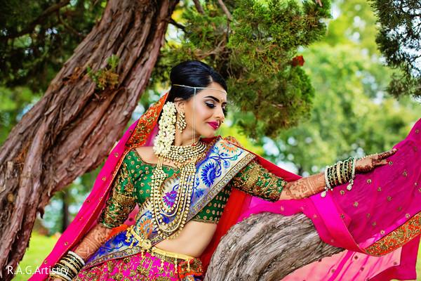 Stunning indian bride in Lake Lanier, Georgia Indian Wedding by RAG Artistry