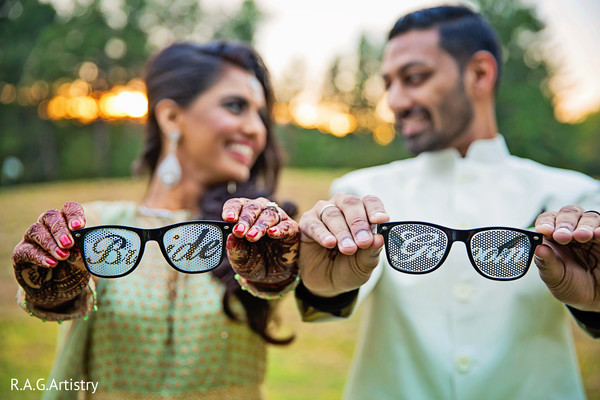 Indian bride and groom's glasses in Lake Lanier, Georgia Indian Wedding by RAG Artistry