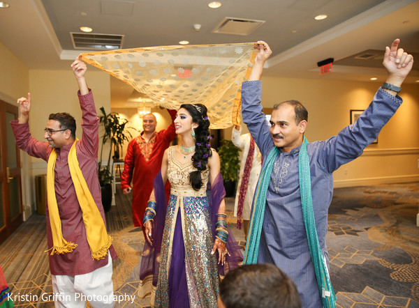 Charming Indian bride entrance. in Hartford, CT South Asian Wedding by Kristin Griffin Photography