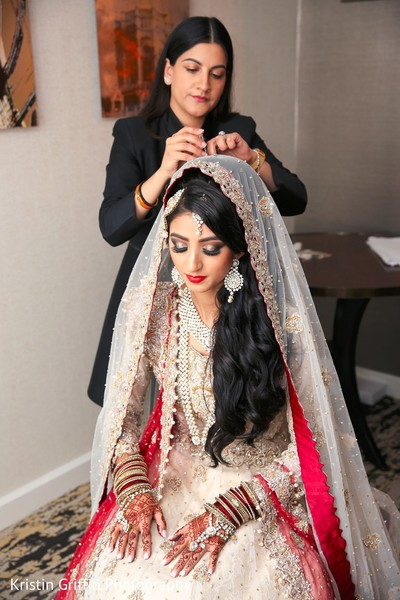 Gorgeous Indian bridal style. in Hartford, CT South Asian Wedding by Kristin Griffin Photography