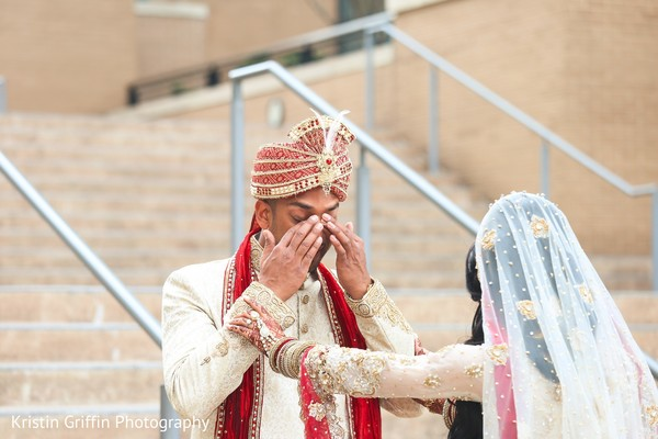 Amazingly Heartfelt first look photography. in Hartford, CT South Asian Wedding by Kristin Griffin Photography