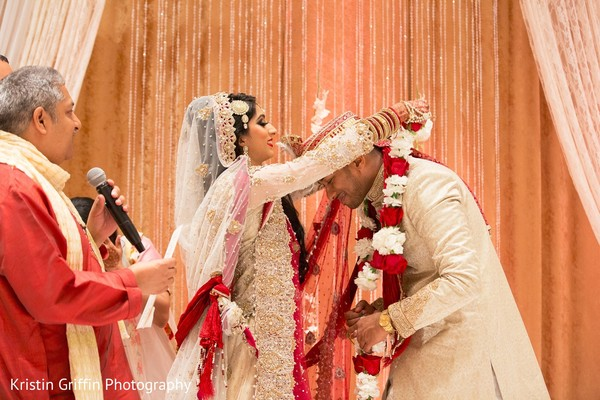 Jaimala wedding ritual. in Hartford, CT South Asian Wedding by Kristin Griffin Photography