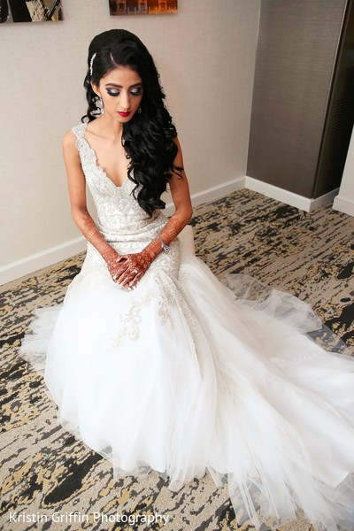 indian bride,white wedding dress,indian bride hair and makeup