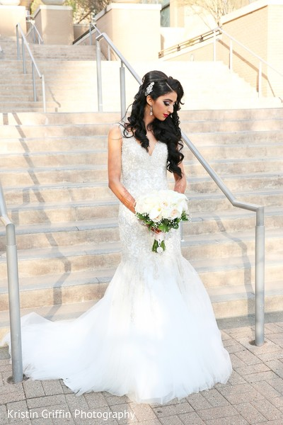 Dazzling Indian bride in white wedding gown. in Hartford, CT South Asian Wedding by Kristin Griffin Photography