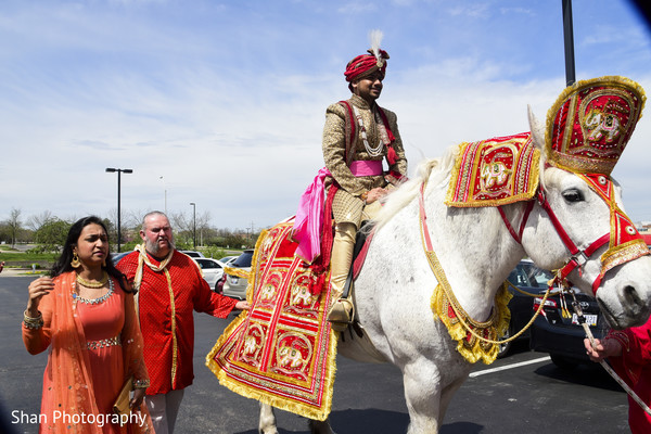 Indian wedding baraat with white horse in Dayton, OH Indian Wedding by Shan Photography