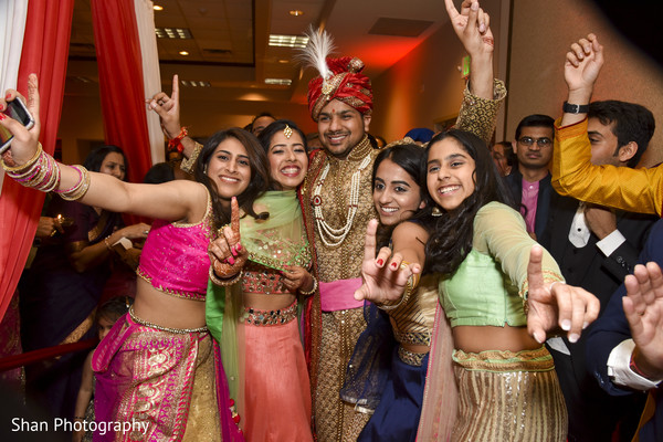 Indian groom with bridesmaids in Dayton, OH Indian Wedding by Shan Photography