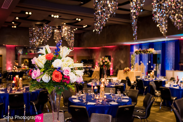 indian wedding reception,floral and decor,table centerpiece