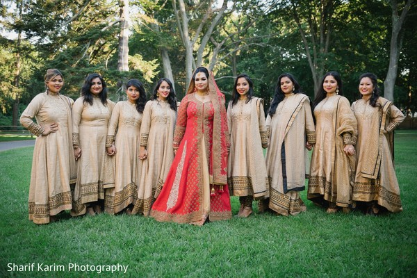 Indian bride with bridesmaids in Long Island, NY South Asian Wedding by Karim Photo