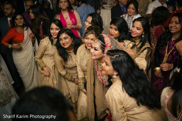 Indian bride and bridesmaids posing for photo shoot in Long Island, NY South Asian Wedding by Karim Photo