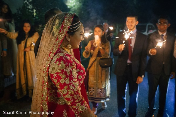 Indian bride and groom ready to leave wedding reception in Long Island, NY South Asian Wedding by Karim Photo