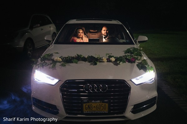 Indian bride and groom's wedding car in Long Island, NY South Asian Wedding by Karim Photo