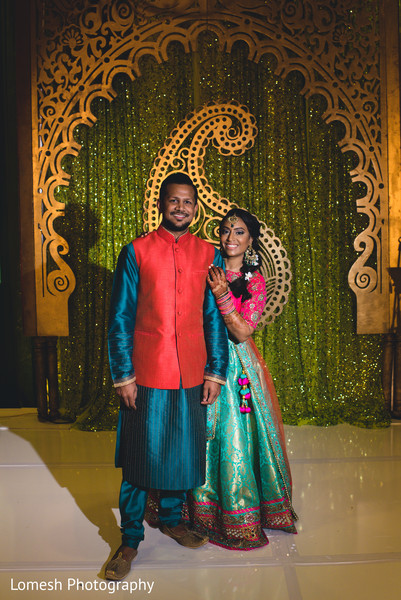 sangeet,pre- wedding celebrations,indian bride and groom portrait