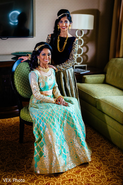 Indian bride with sister portrait