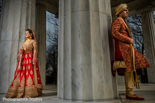 Dreamy Indian bride and groom portrait.