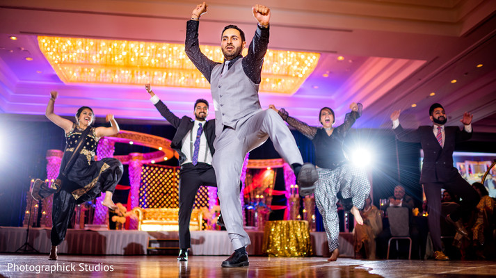 indian wedding reception,performance,bollywood dancers,dj
