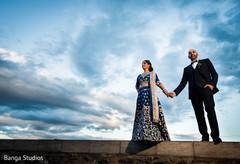 indian bride lengha,indian groom suit,outdoor photography