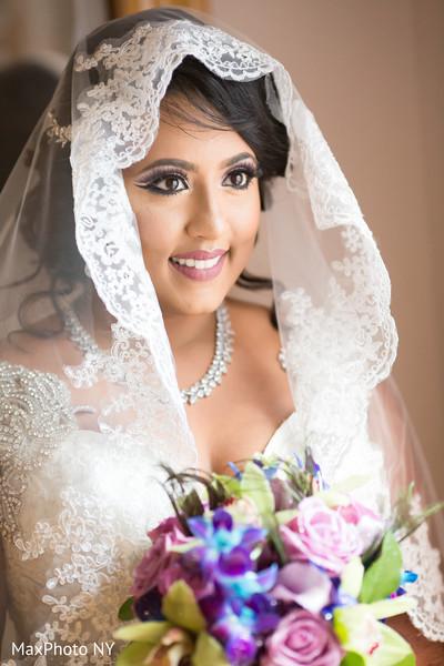 indian bride,bridal bouquet,white wedding dress