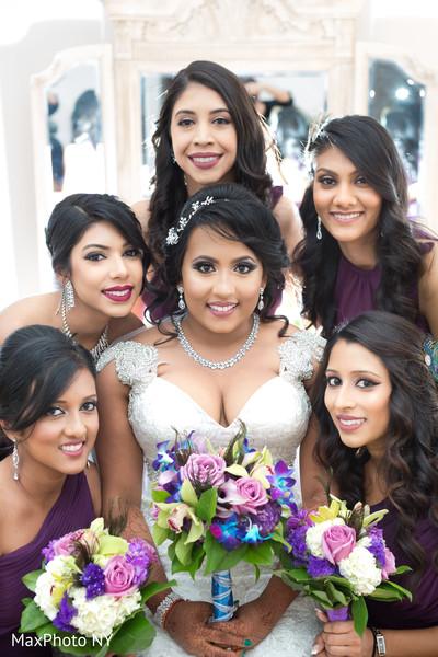 indian bride,bridal bouquet,white wedding dress,indian bridesmaids
