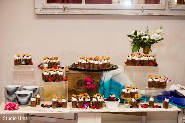 Indian wedding reception dessert station