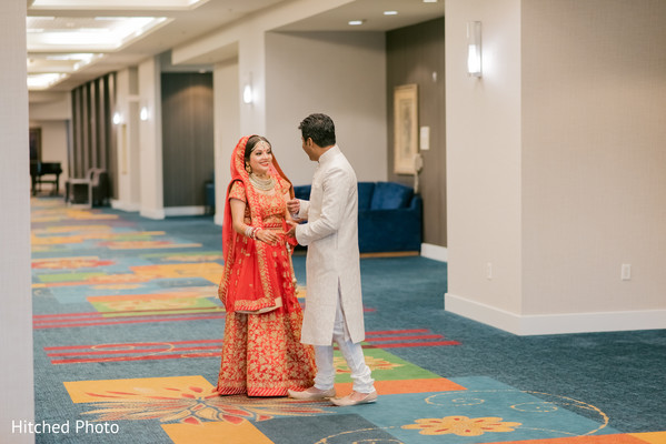 Candid Indian couple's first look photography.