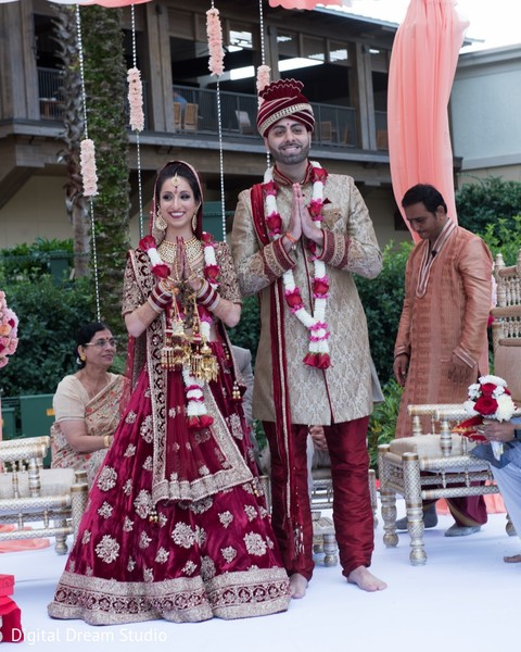 Enchanting indian couple during their wedding ceremony