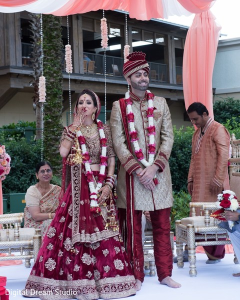 Indian bride and groom at wedding ceremony
