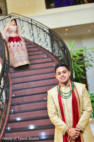 indian bride lengha,indian groom sherwani,first look photography