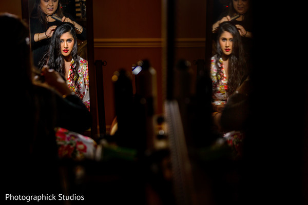getting ready,indian bride,hair and makeup