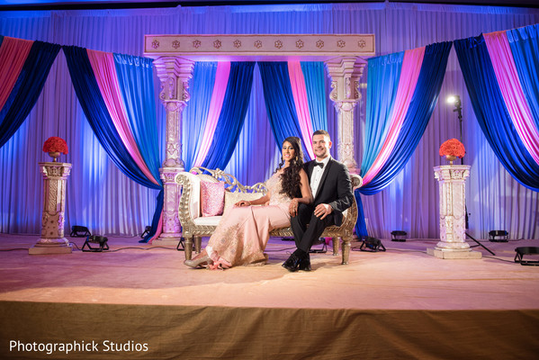 indian wedding reception,floral and decor,stage,draped stage