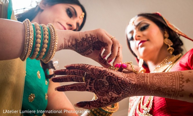 Indian bride mehndi art.